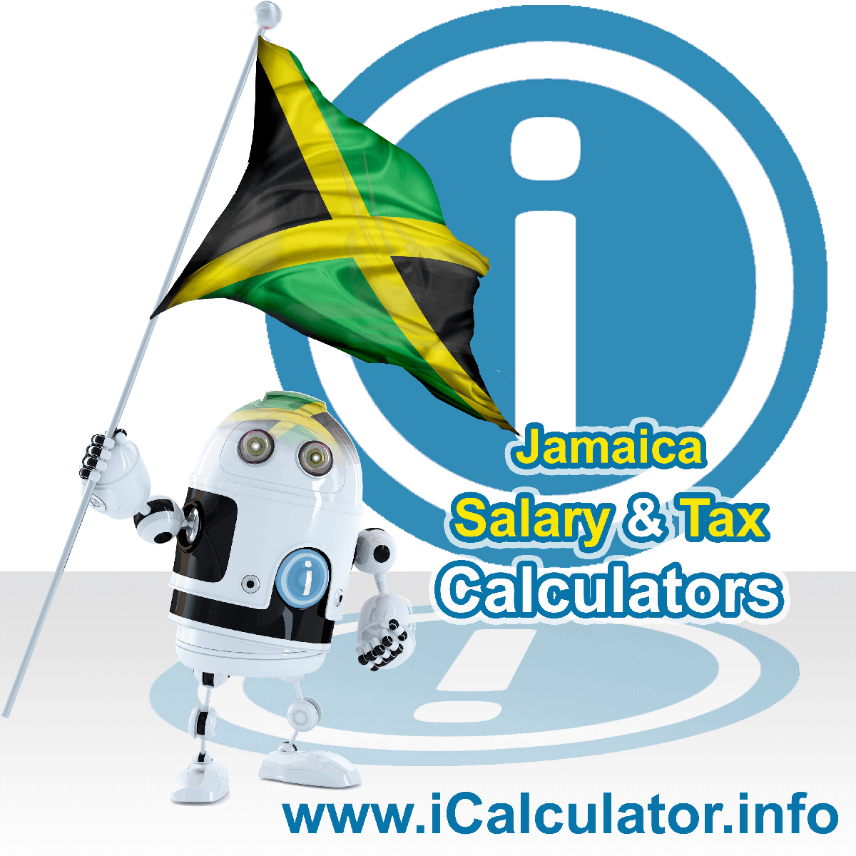 Jamaica Wage Calculator. This image shows the Jamaica flag and information relating to the tax formula for the Jamaica Tax Calculator