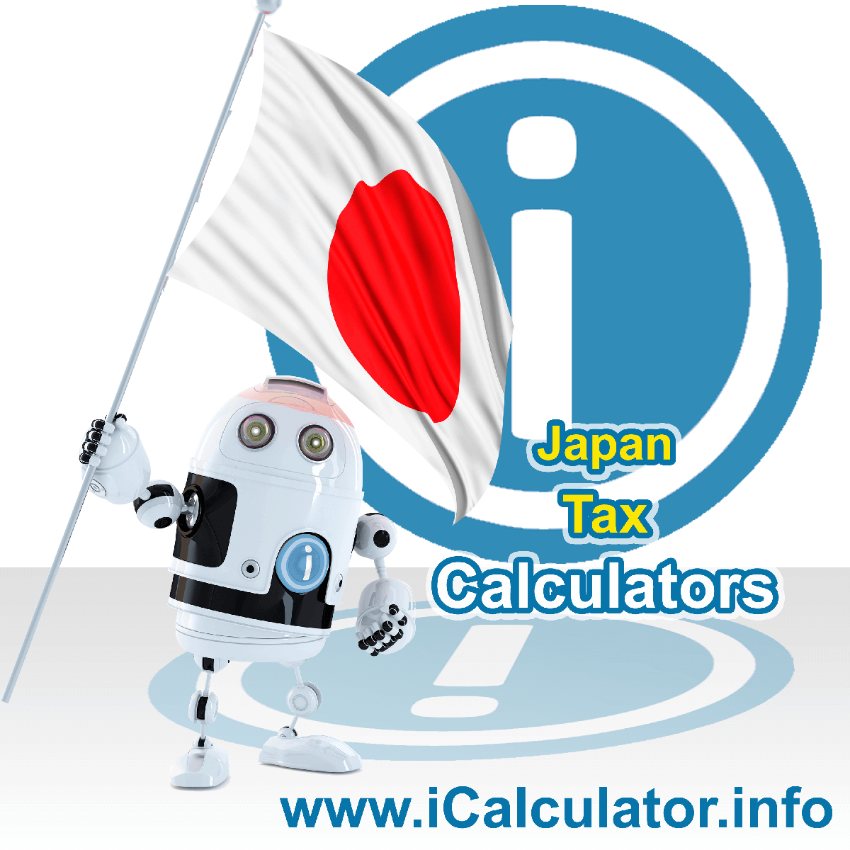 Japan Tax Calculator. This image shows the Japanese flag and information relating to the tax formula for the Japan Tax Calculator