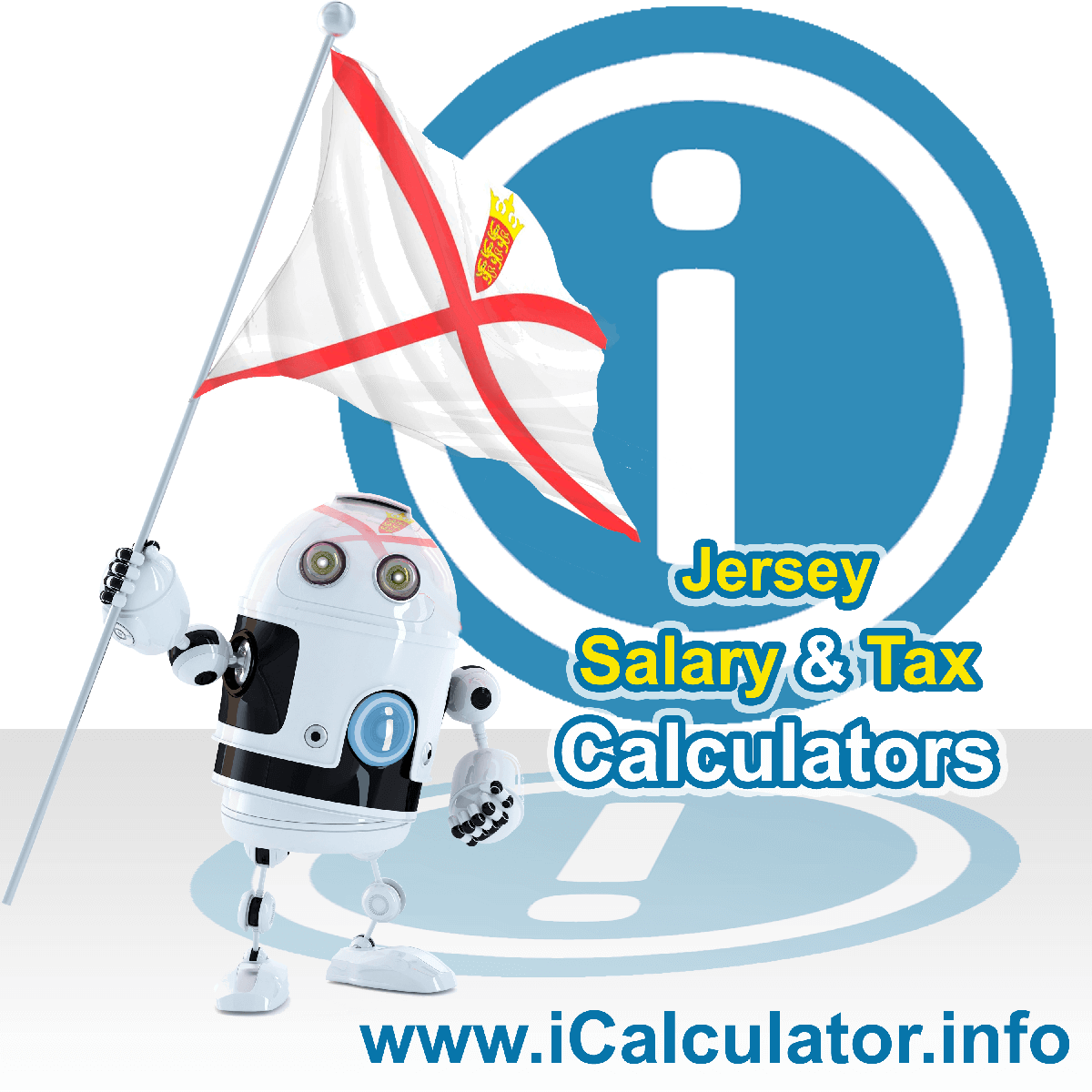 Jersey Wage Calculator. This image shows the Jersey flag and information relating to the tax formula for the Jersey Tax Calculator
