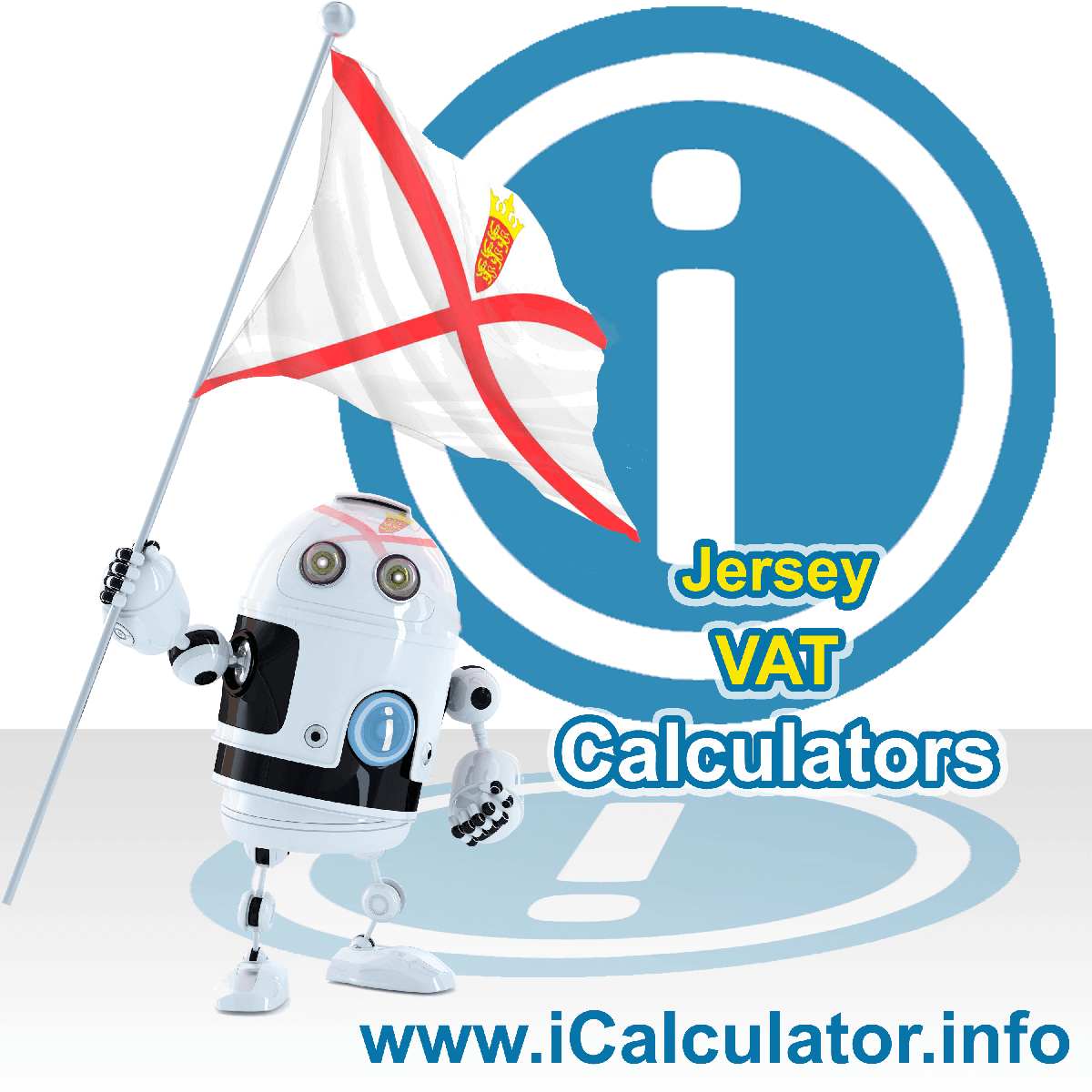 Jersey VAT Calculator. This image shows the Jersey flag and information relating to the VAT formula used for calculating Value Added Tax in Jersey using the Jersey VAT Calculator in 2021