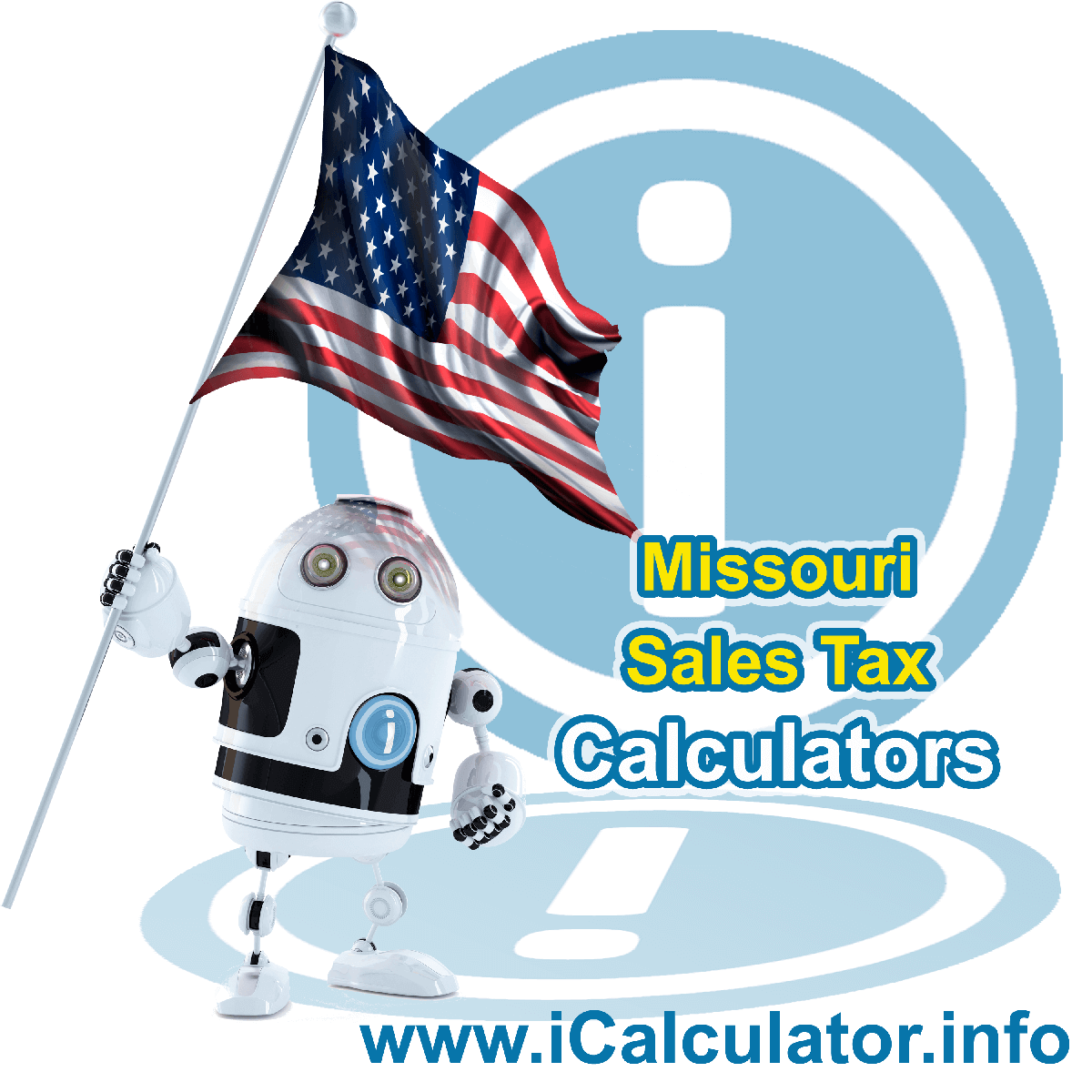 Missouri Sales Tax Comparison Calculator: This image illustrates a calculator robot comparing sales tax in Missouri manually using the Missouri Sales Tax Formula. You can use this information to compare Sales Tax manually or use the Missouri Sales Tax Comparison Calculator to calculate and compare Missouri sales tax online.