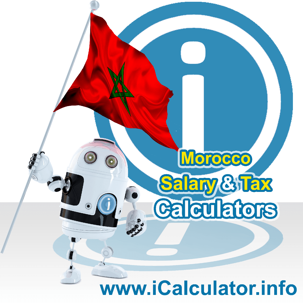 Morocco Wage Calculator. This image shows the Morocco flag and information relating to the tax formula for the Morocco Tax Calculator