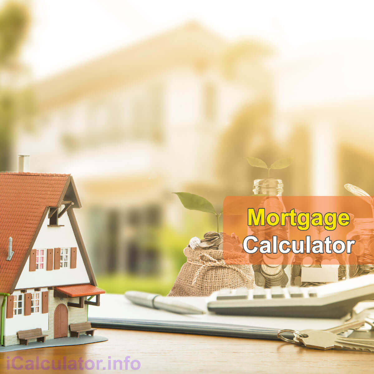 Mortgage Calculator. This image shows a beautiful home for a first time buyer, a notepad and a calculator being used to calculate the monthly repayment amount on a £84,000.00 mortgage with a 3.4% mortgage interest rate. Alternatively, people can calculate their monthly mortgage repayments on £84,000.00 at 3.4% using the mortgage calculator by iCalculator Finance Tax Calculator