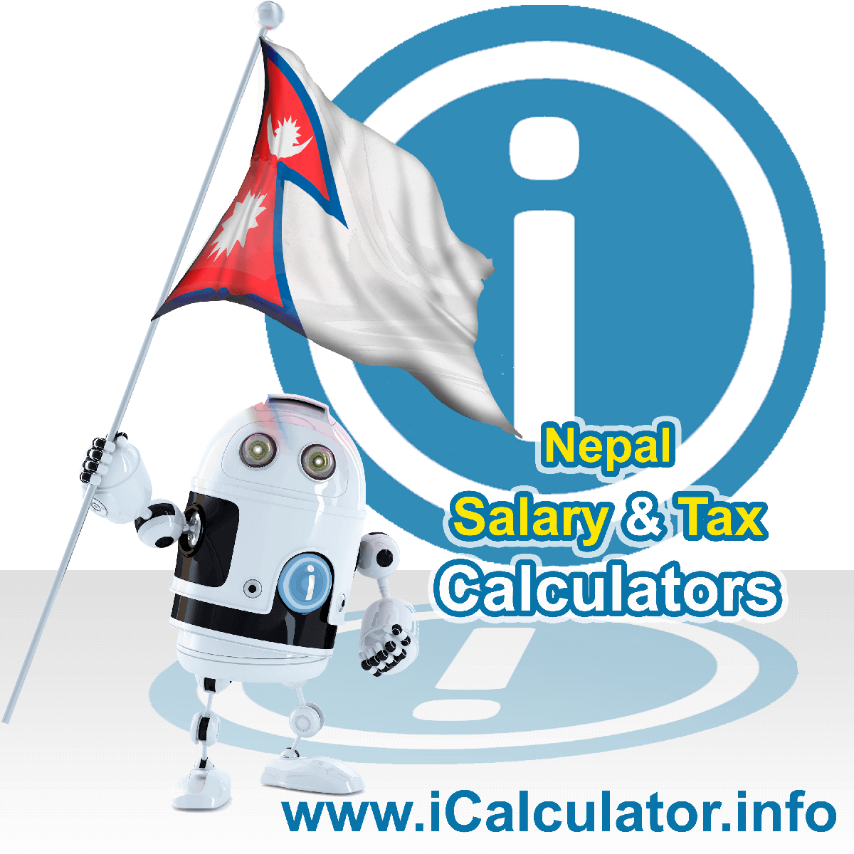 Nepal Wage Calculator. This image shows the Nepal flag and information relating to the tax formula for the Nepal Tax Calculator