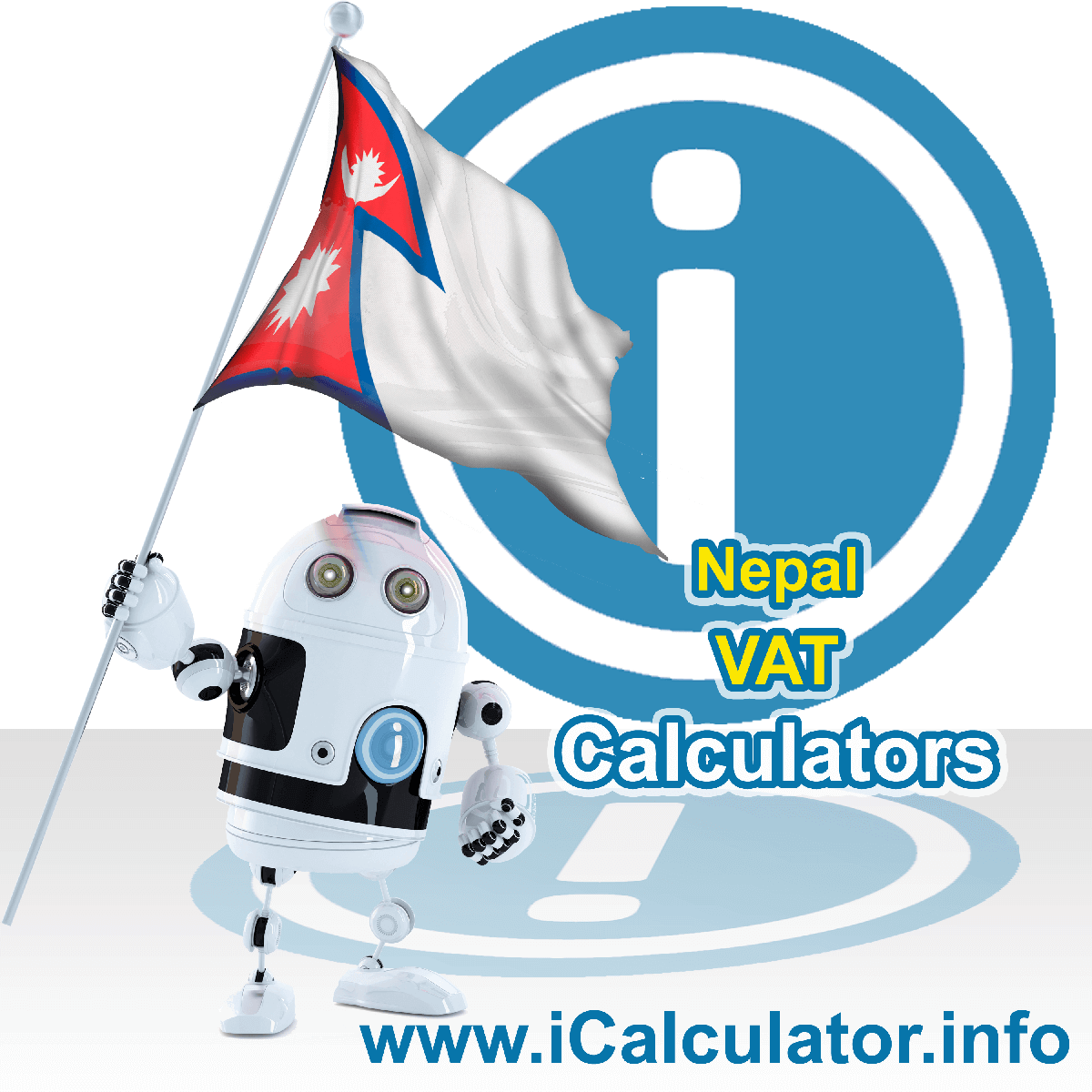 Nepal VAT Calculator. This image shows the Nepal flag and information relating to the VAT formula used for calculating Value Added Tax in Nepal using the Nepal VAT Calculator in 2076