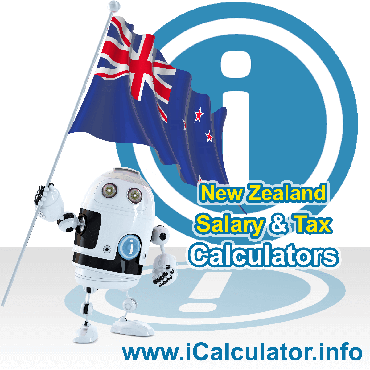 New Zealand Wage Calculator. This image shows the New Zealand flag and information relating to the tax formula for the New Zealand Tax Calculator