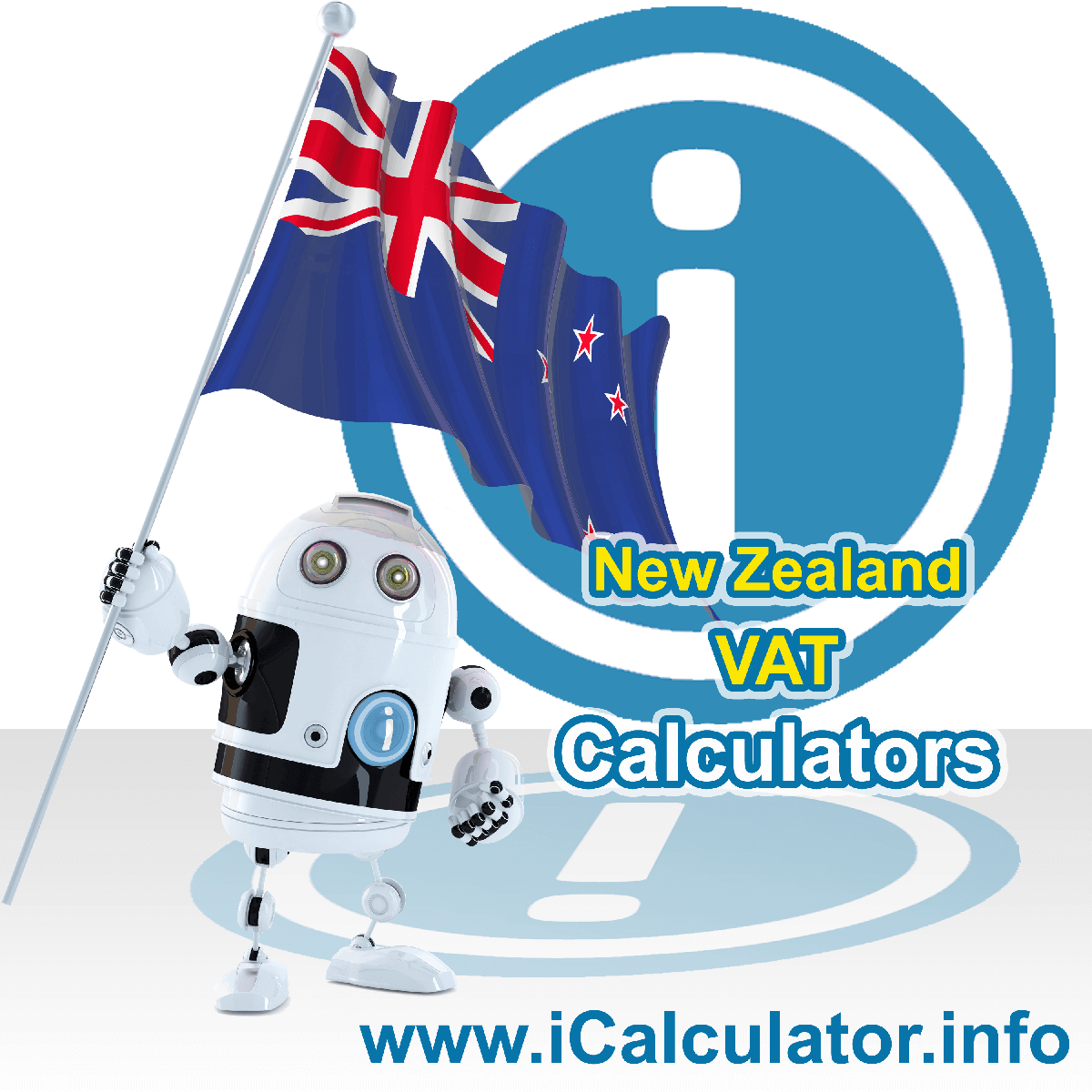 New Zealand VAT Calculator. This image shows the New Zealand flag and information relating to the VAT formula used for calculating Value Added Tax in New Zealand using the New Zealand VAT Calculator in 2020