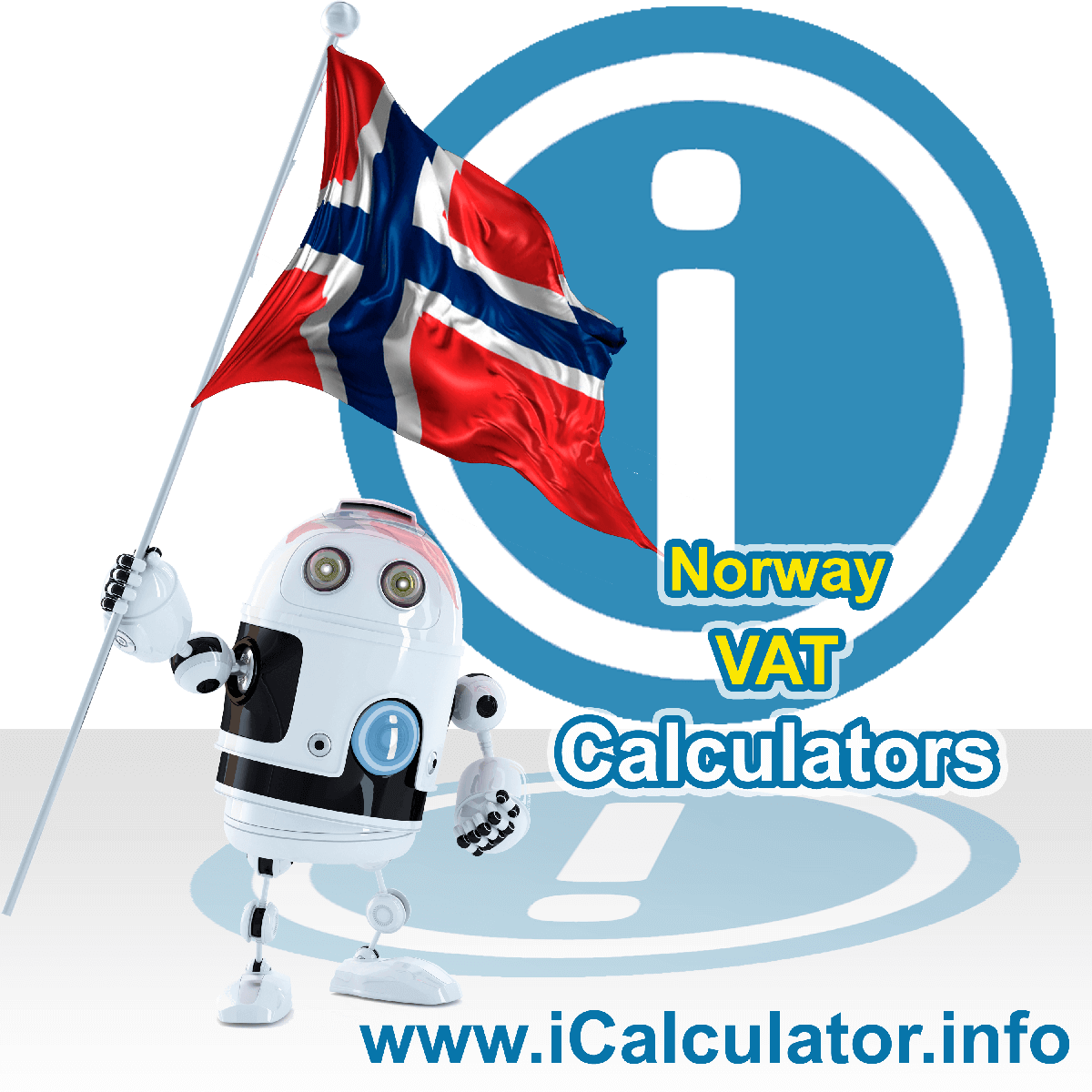 Norway VAT Calculator. This image shows the Norway flag and information relating to the VAT formula used for calculating Value Added Tax in Norway using the Norway VAT Calculator in 2021