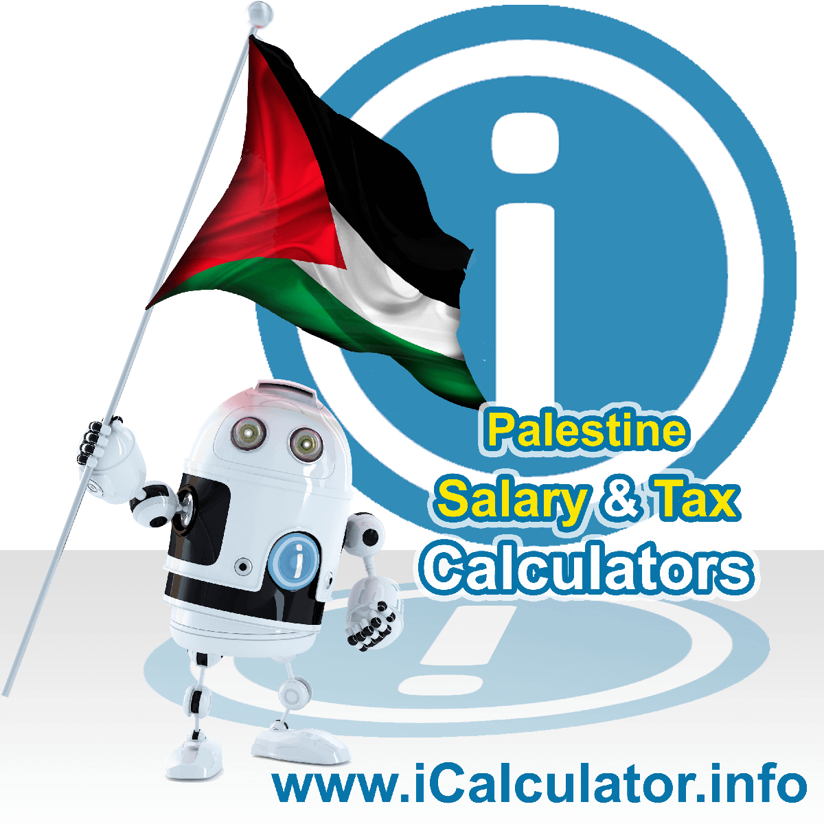 Palestine Wage Calculator. This image shows the Palestine flag and information relating to the tax formula for the Palestine Tax Calculator