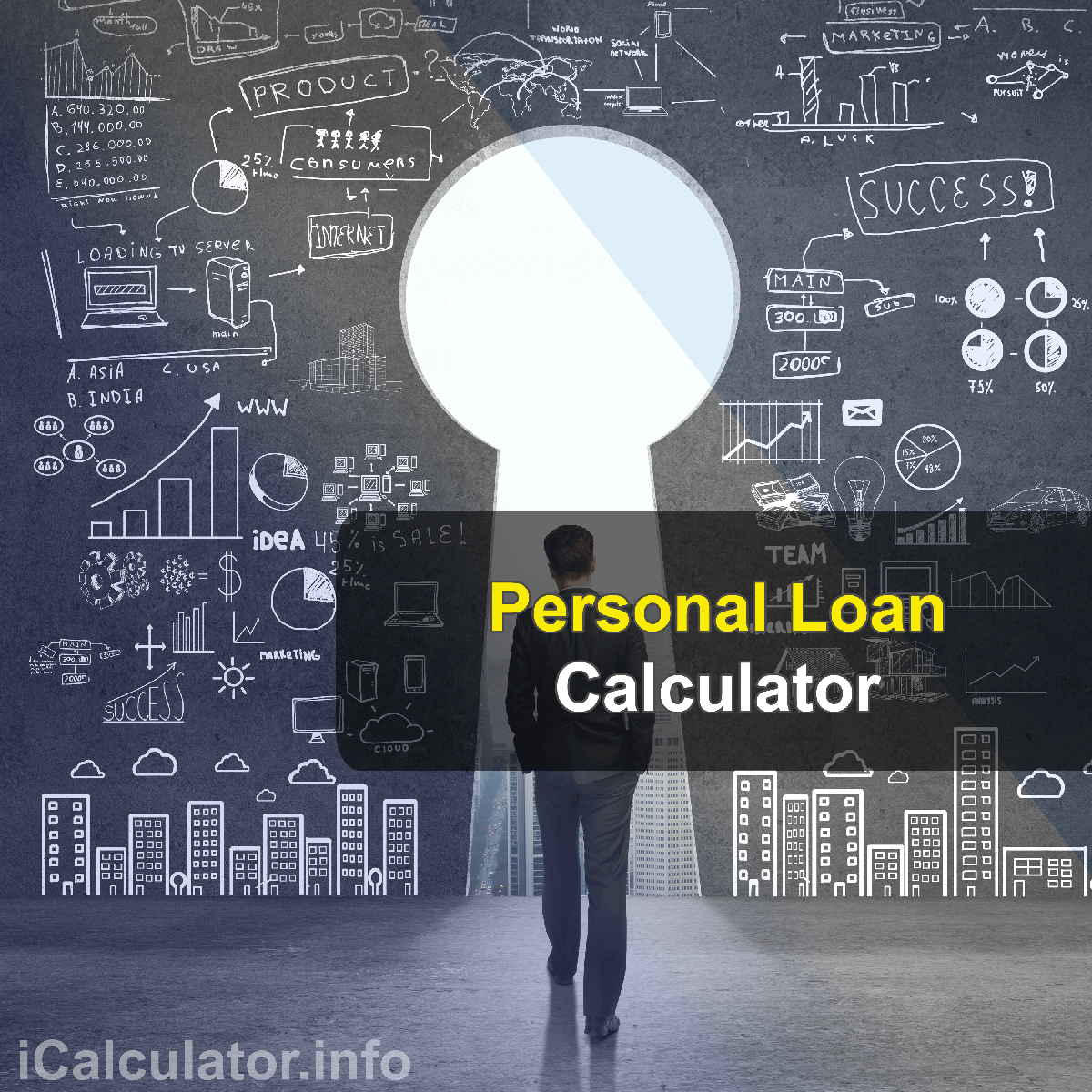 Personal Loan Calculator. This image shows the personal loan formula for the personal loan Calculator and associated free online calculators on iCalculator