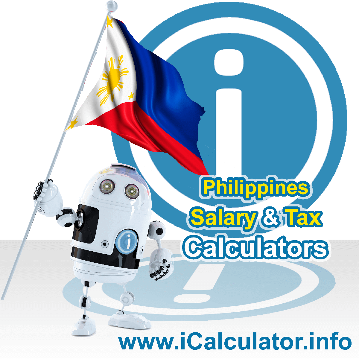 Philippines Wage Calculator. This image shows the Philippines flag and information relating to the tax formula for the Philippines Tax Calculator