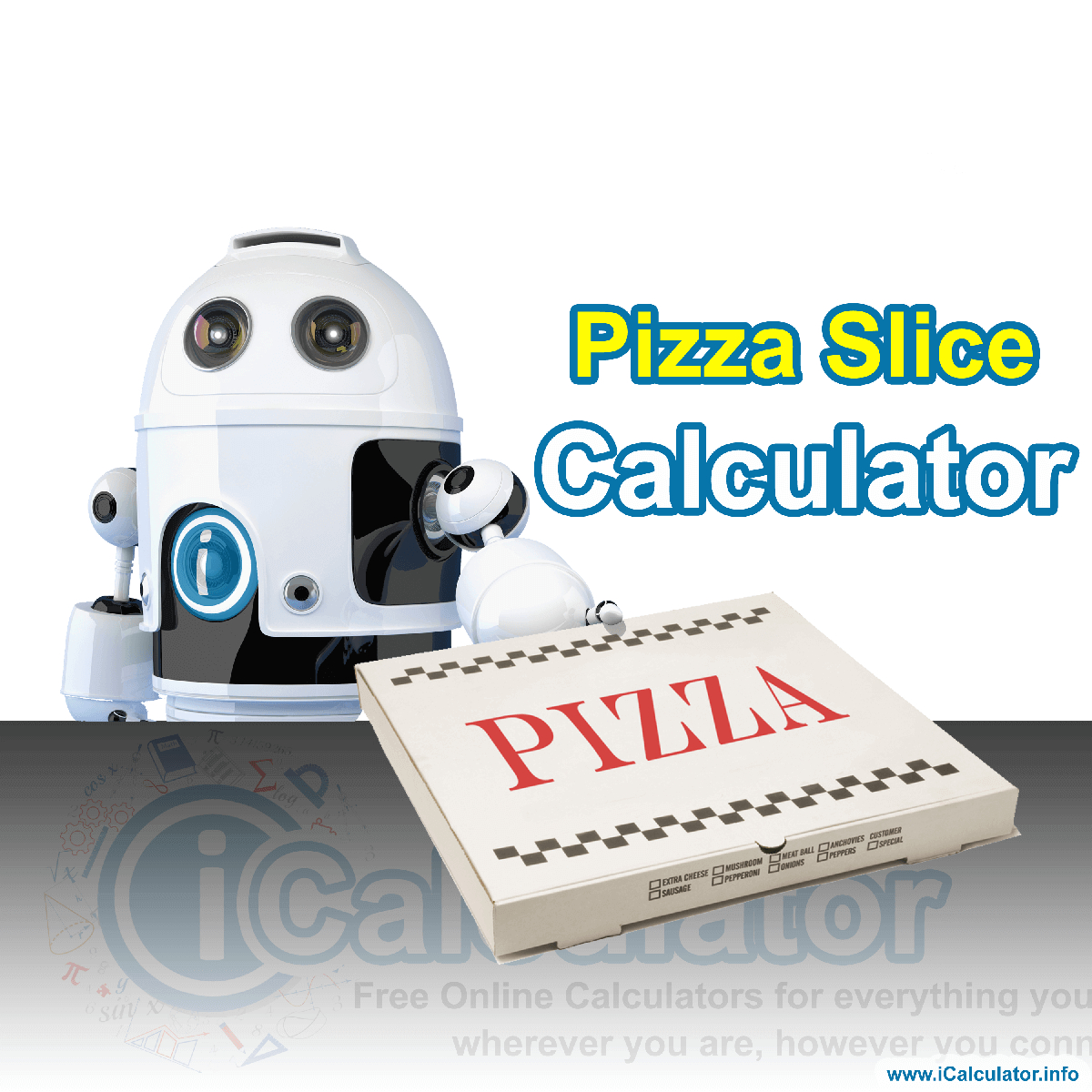 Pizza Calculator. This image shows our pizza delivery robot handing over a delicious large pizza which has been cut into slices after calculating the slices per pizza based on calorie count using the pizza slice forumal and the pizza calculator.