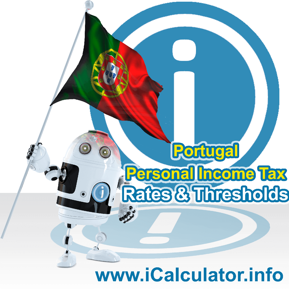 Portugal Personal Income Tax Tables and Corporation Tax Tables for 2021. This image shows the Portugal flag and information relating to the tax tables for Portugal in 2021 that are used within the Portugal Tax Calculator