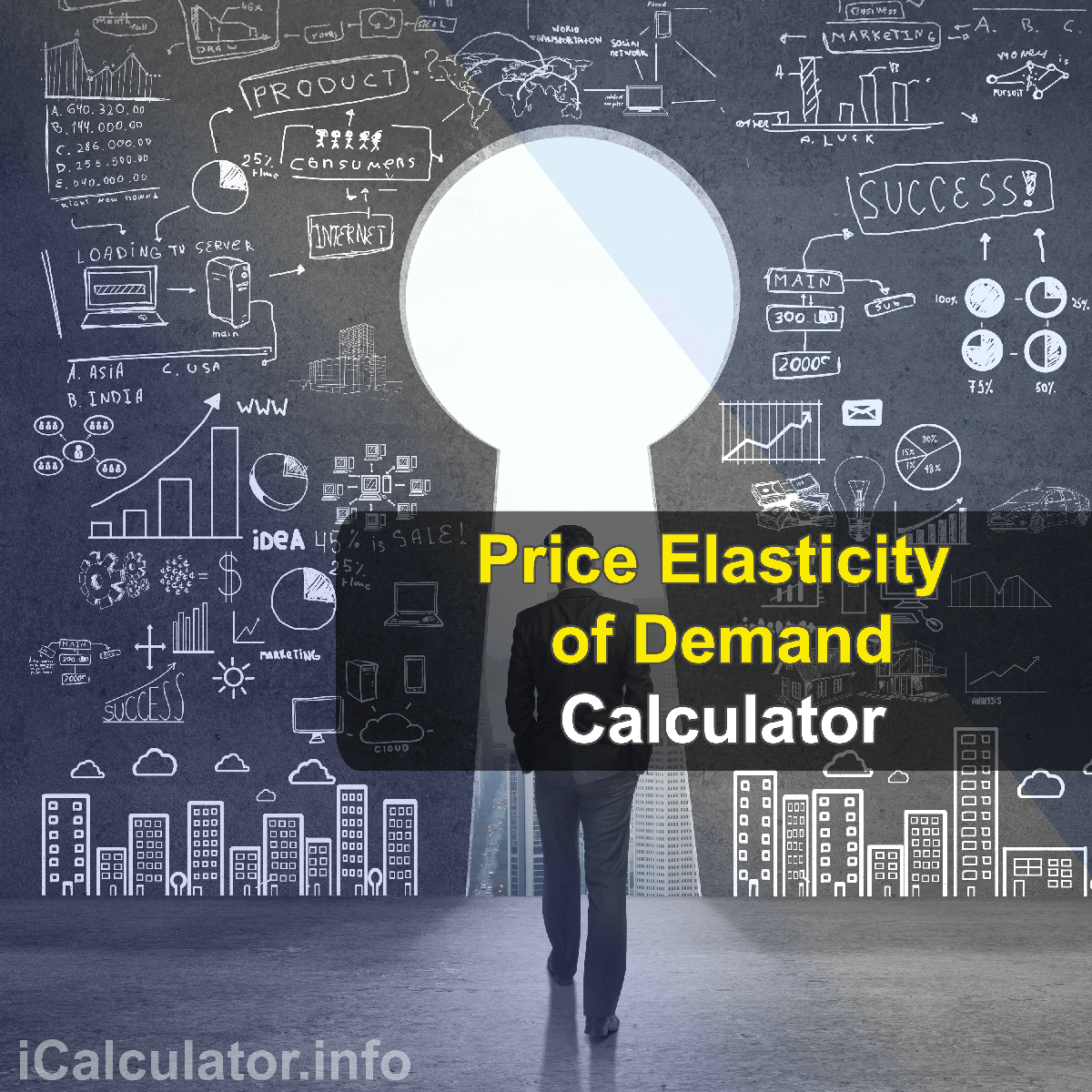 Price Elasticity of Demand Calculator. This image provides details of how to calculate the price elasticity effect of supply and demand using a good calculator and notepad. By using the either of the iprice elasticity formula, the Price Elasticity of Demand Calculator provides a true calculation of how the demand will decrease as the price iss increased and vice-versa.