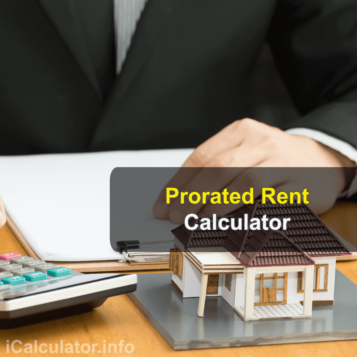 Prorated Rent Calculator. This image provides details of how to calculate the prorated rent using a good calculator and notepad. By using the either of the prorated formula, the Prorated Rent Calculator provides a true calculation of how much rent is due for the period which forms part of a rental period.