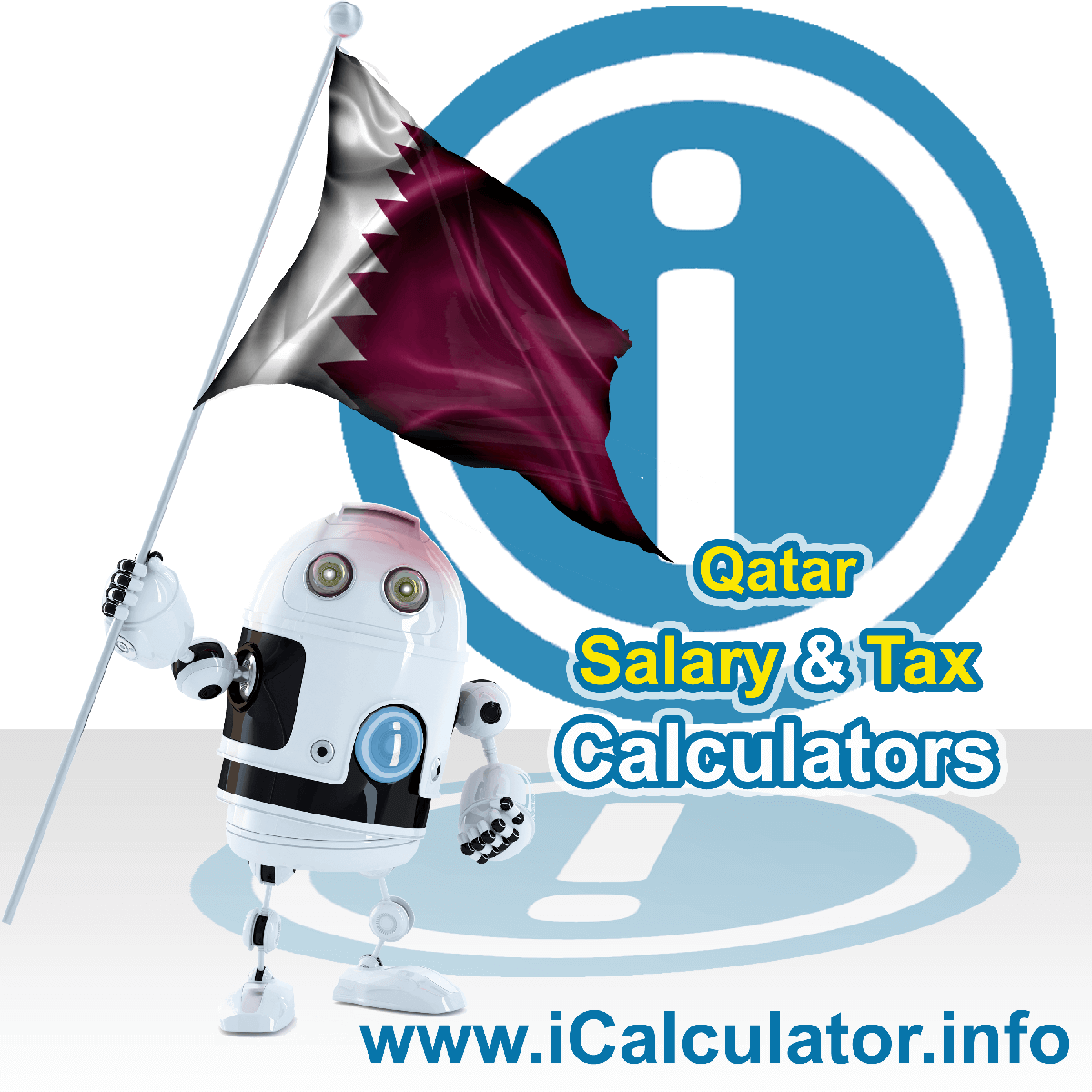 Qatar Tax Calculator. This image shows the Qatar flag and information relating to the tax formula for the Qatar Salary Calculator