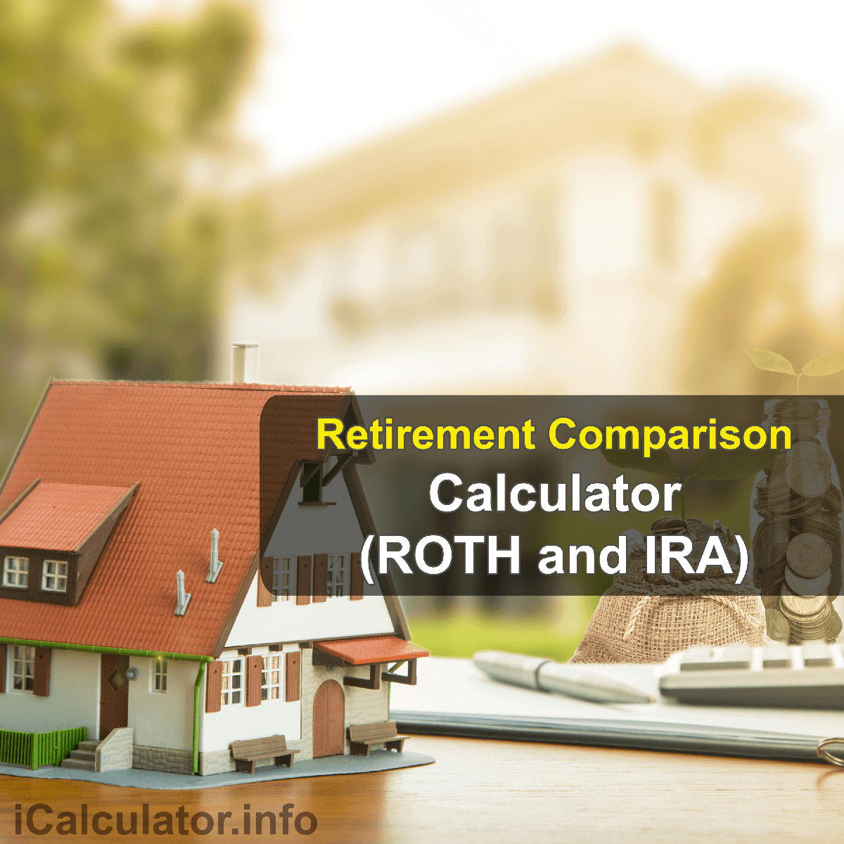 ROTH and IRA Calculator. This image provides details of how to calculate the compound annual growth rate using a good calculator, a pencil and paper. By using the ROTH IRA formula, the IRA Comparison Calculator provides a comparison calculation of the retirement fund provided by ROTH IRA and Traditional IRA retirement saving plans