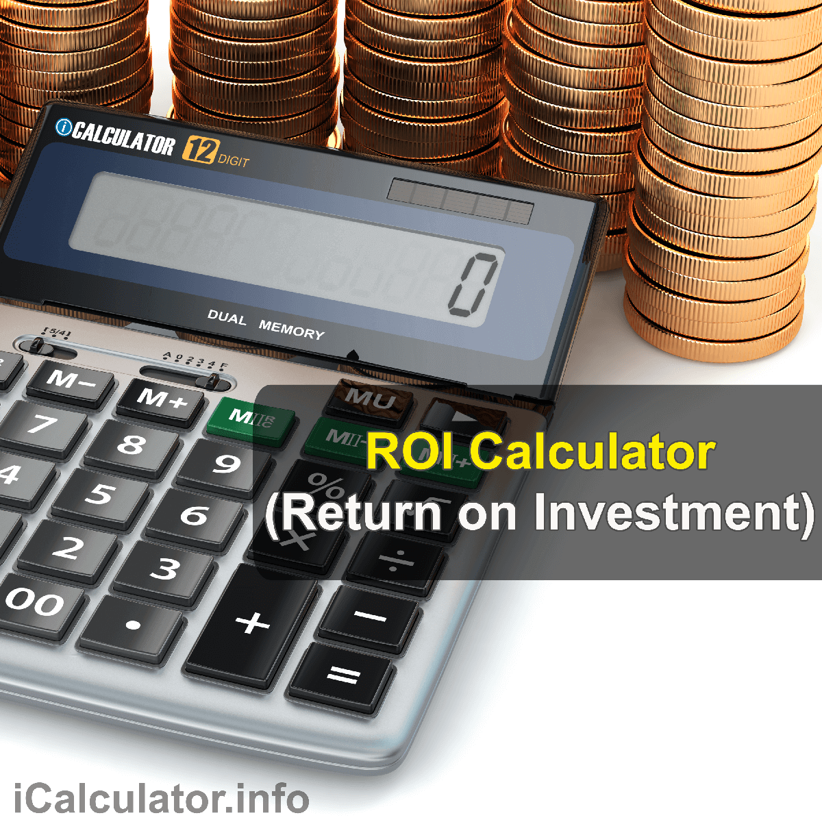 ROI Calculator. This image shows the an accountant manually calculating the return on investment formula. The return on investment formula is used by the ROI Calculator to calculate the ROI percentage and ROI Ratio to support investment decision making.