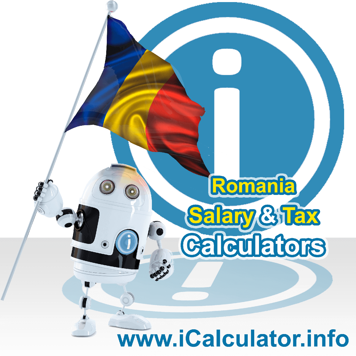 Romania Wage Calculator. This image shows the Romania flag and information relating to the tax formula for the Romania Tax Calculator