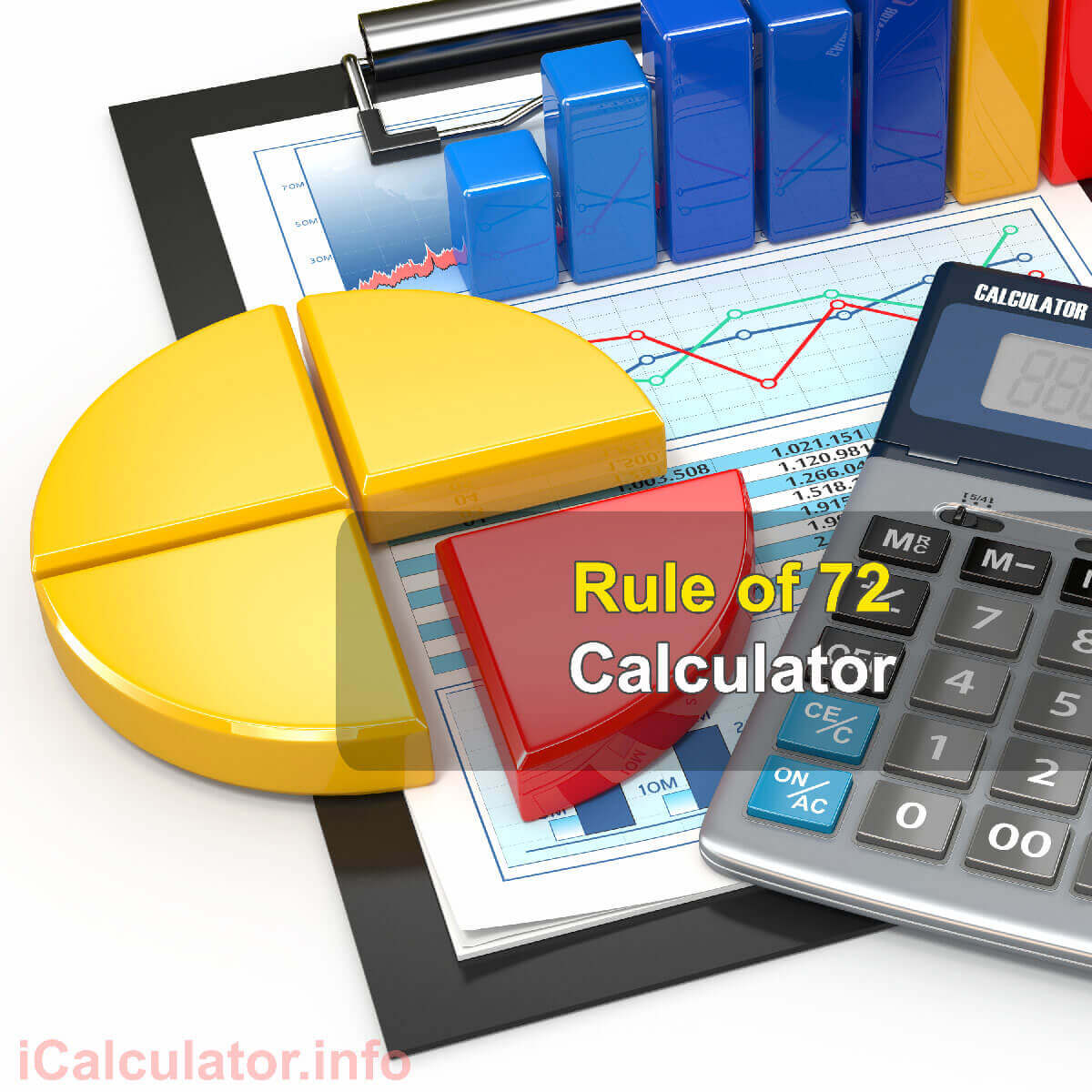 Rule of 72 Calculator. This image provides details of how to calculate the rule of 72 using a calculator and notepad. By using the rule of 72 formula, the Rule of 72 Calculator provides a true calculation of the interest rate on an investment and/or personal and home loans.