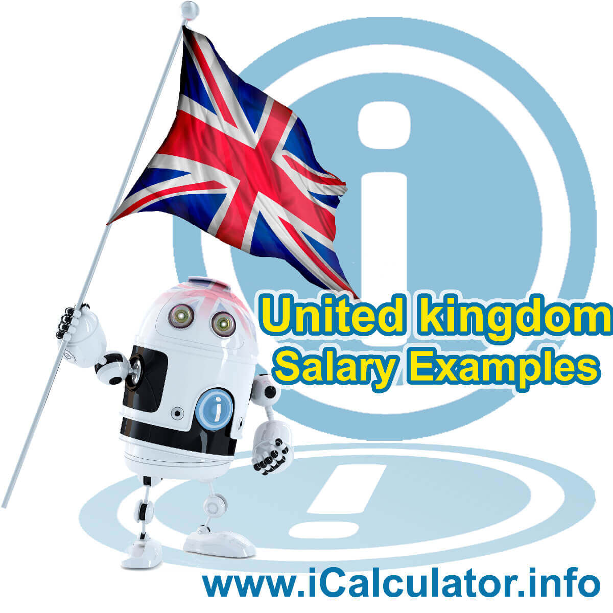 UK Salary Examples. This image shows the United Kingdom flag and information relating to the tax formula used to calculate the UK Salary Examples