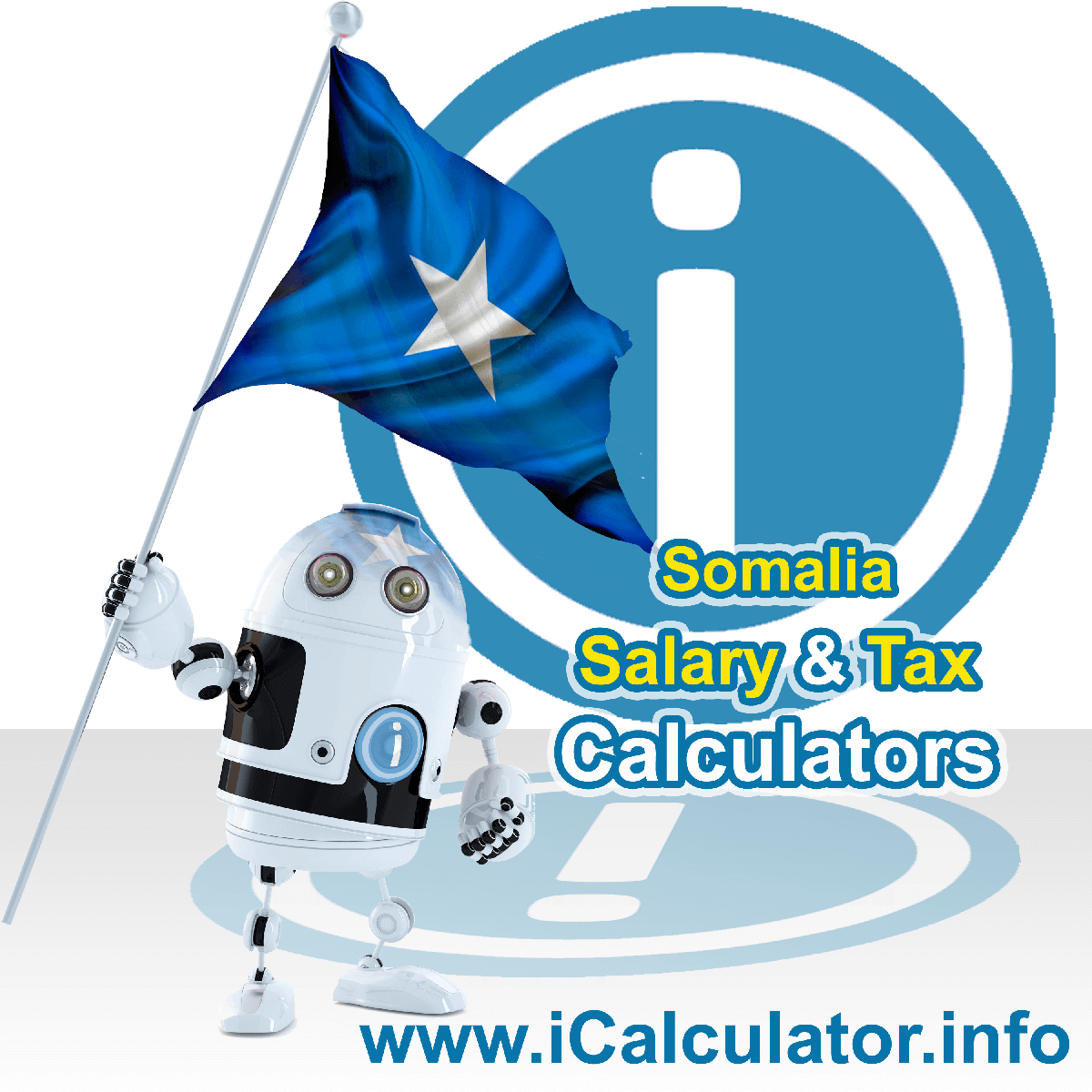 Somalia Wage Calculator. This image shows the Somalia flag and information relating to the tax formula for the Somalia Tax Calculator