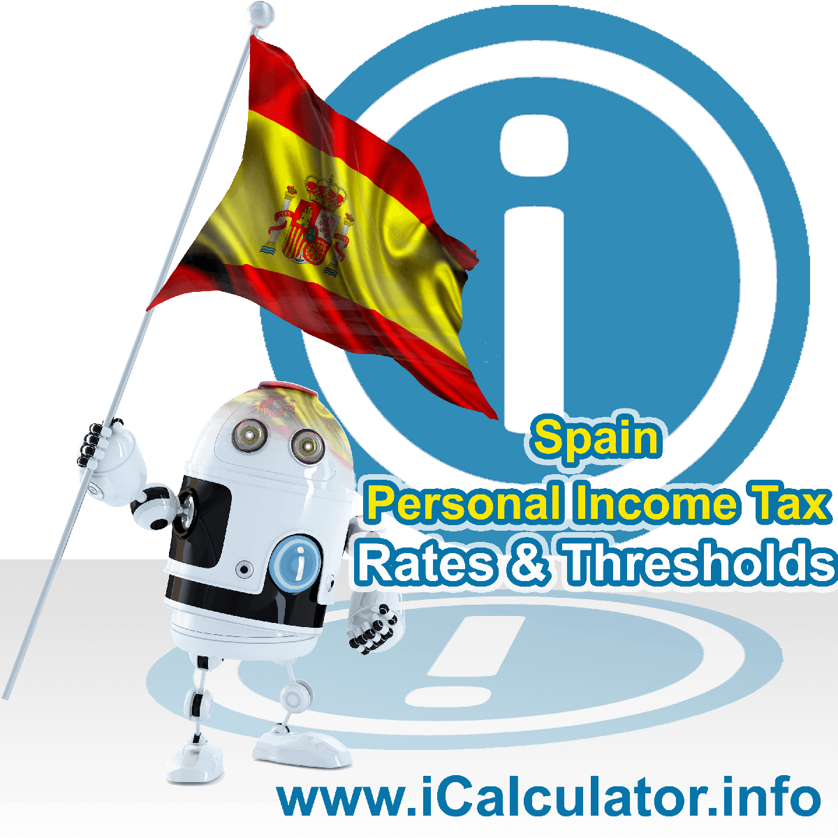 Spain Salary Calculator. This image shows the Spainese flag and information relating to the tax formula for the Spain Tax Calculator