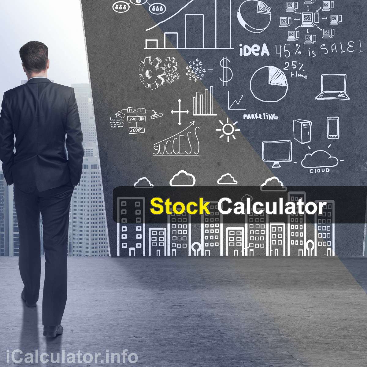 Stock Profit Calculator. This image provides details of how to calculate stock profit using a calculator and notepad. By using the stock profit formula, the Stock Profit Calculator provides a true calculation of the actual value of returns on your investments