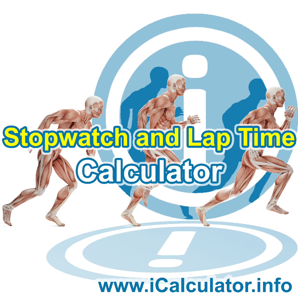 This image shows details about the online sports stopwatch and lap time formula used to calculate lap speed, lap time and totoal workout durations on the sports stopwatch and lap time Calculator by iCalculator