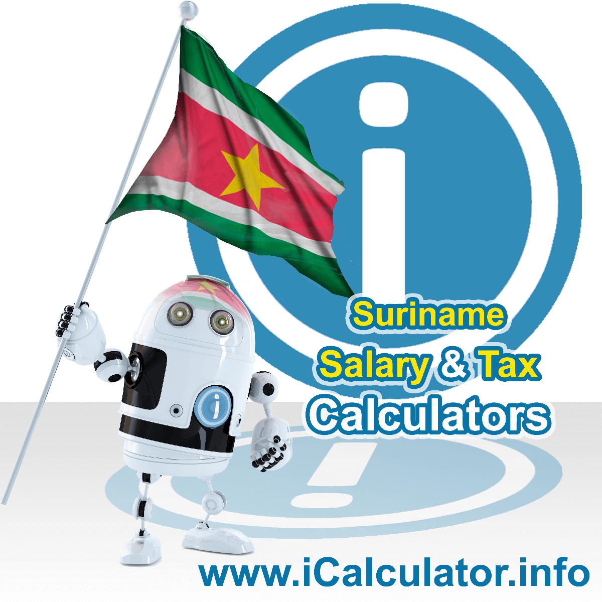 Suriname Wage Calculator. This image shows the Suriname flag and information relating to the tax formula for the Suriname Tax Calculator
