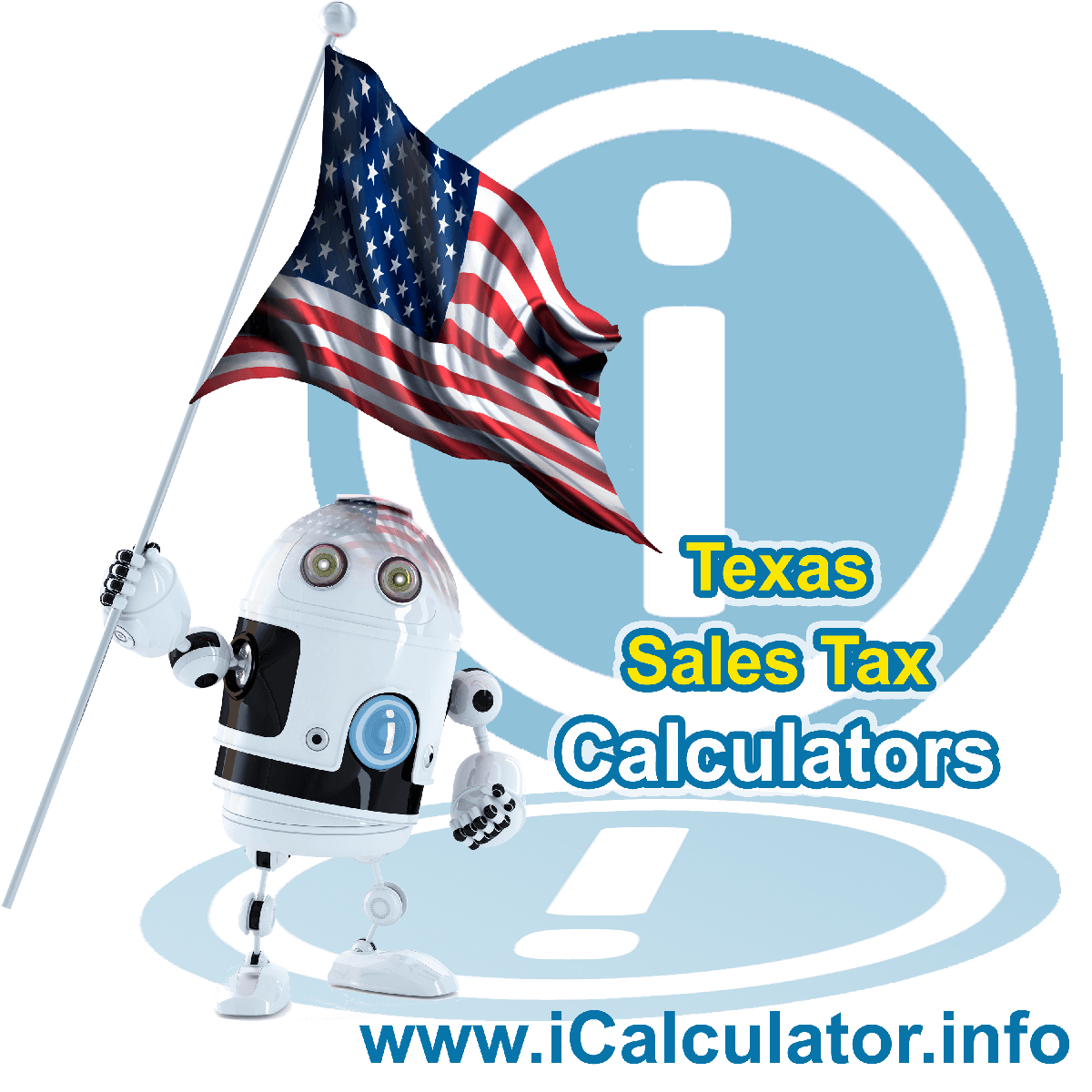 Texas Sales Tax Comparison Calculator: This image illustrates a calculator robot comparing sales tax in Texas manually using the Texas Sales Tax Formula. You can use this information to compare Sales Tax manually or use the Texas Sales Tax Comparison Calculator to calculate and compare Texas sales tax online.