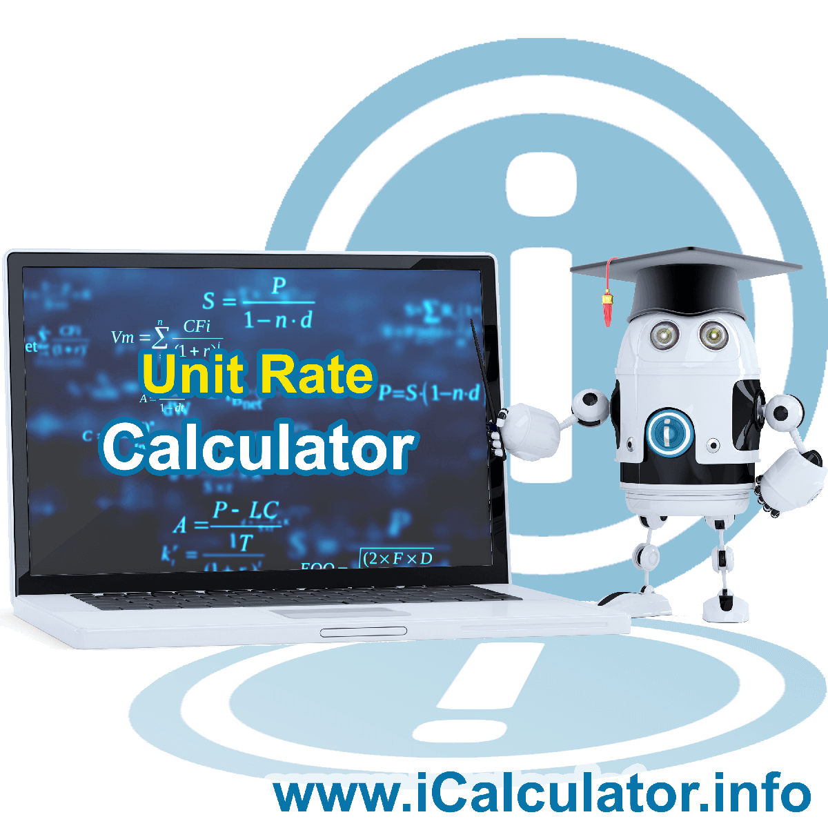 Unit Rate Calculator. This image provides details of how to calculate the unit rate using a calculator and notepad. By using the unit rate formula, the Unit Rate Calculator provides benchmark quantities and assessment of relative value in terms of share
