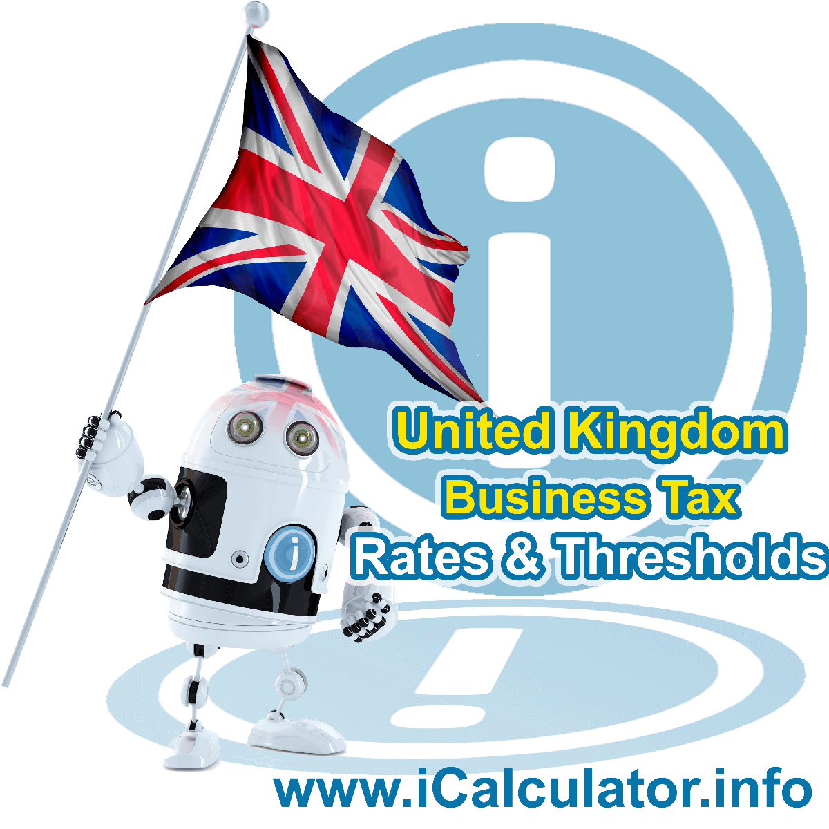 United Kingdom Corporation Tax Rates in 2020. This image shows the United Kingdom flag and information relating to the corporation tax formula for the United Kingdom Corporation Tax Calculator in 2020
