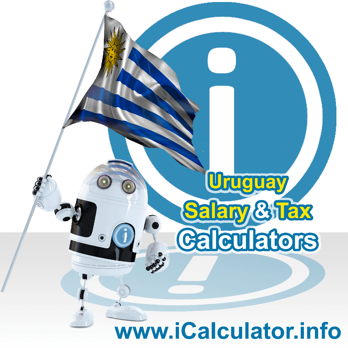 Uruguay Wage Calculator. This image shows the Uruguay flag and information relating to the tax formula for the Uruguay Tax Calculator