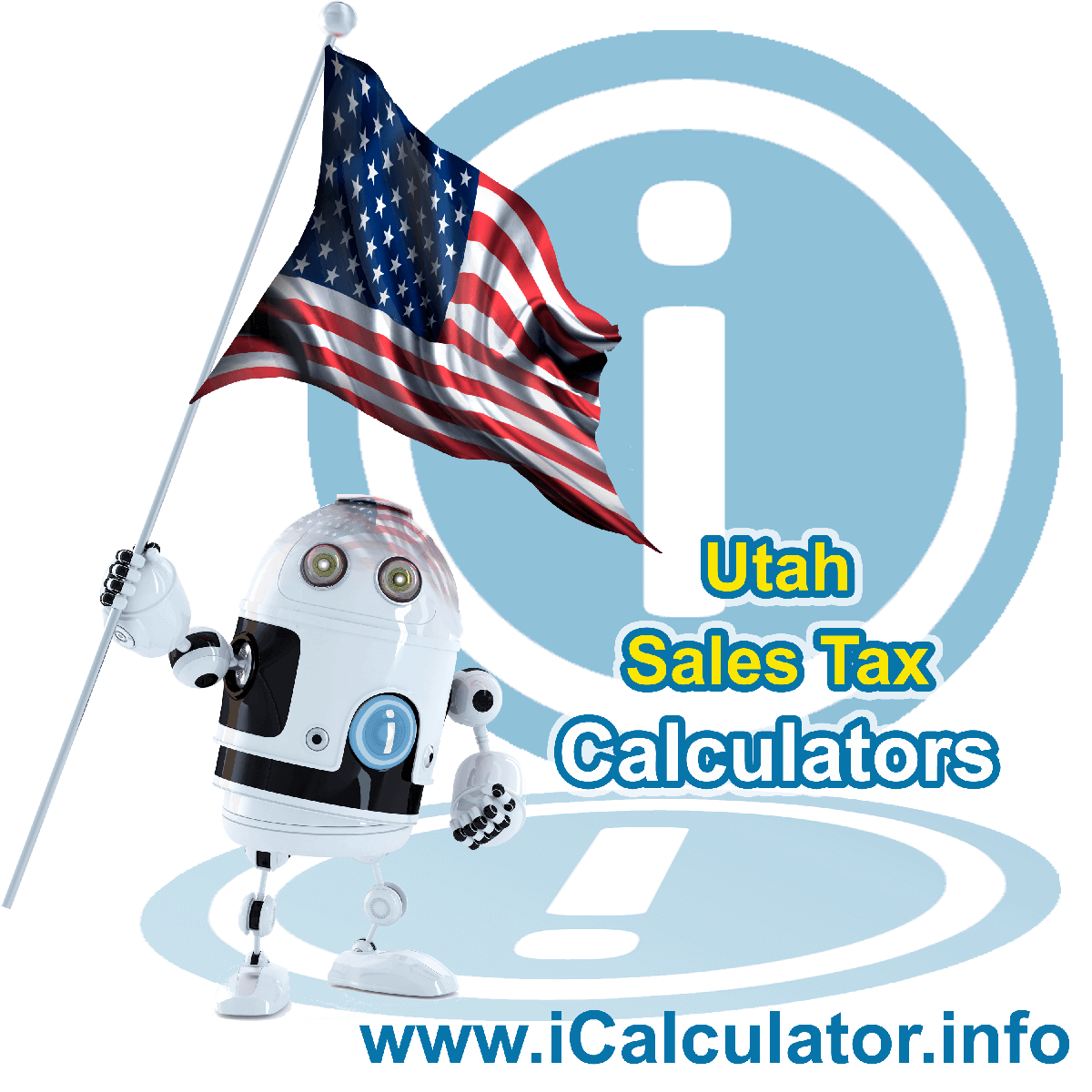 Utah Sales Tax Comparison Calculator: This image illustrates a calculator robot comparing sales tax in Utah manually using the Utah Sales Tax Formula. You can use this information to compare Sales Tax manually or use the Utah Sales Tax Comparison Calculator to calculate and compare Utah sales tax online.