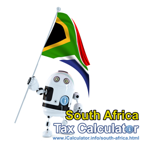 South Africa Salary Calculator. This image shows the South Africaese flag and information relating to the tax formula for the South Africa Tax Calculator