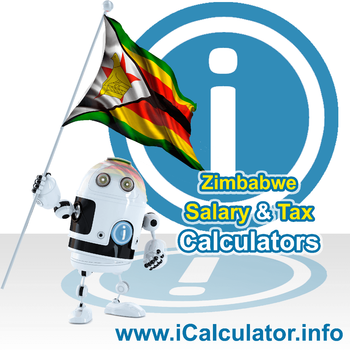 Zimbabwe Tax Calculator. This image shows the Zimbabwe flag and information relating to the tax formula for the Zimbabwe Salary Calculator